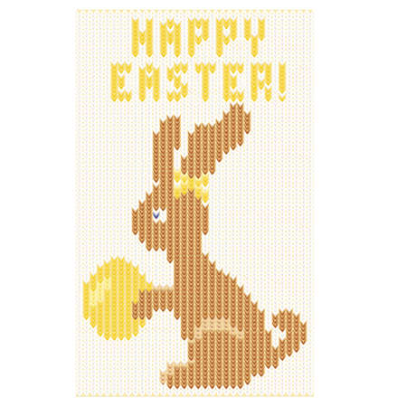 patten: Happy Easter knitting greeting card, vector illustration