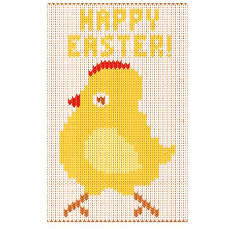 patten: Happy Easter knitted chicken, vector illustration