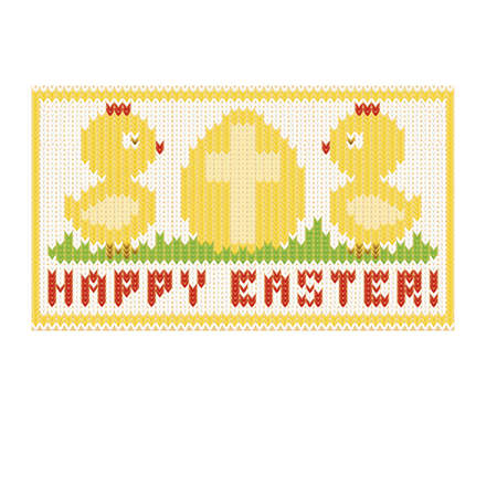 religion  herb: Happy easter knitted card with chiken and egg, vector illustration