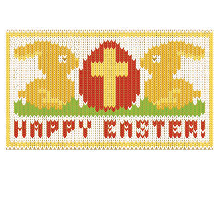 religion  herb: Happy easter knitted card, vector illustration Illustration