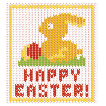 religion  herb: Happy Easter bunny knitted card, vector illustration