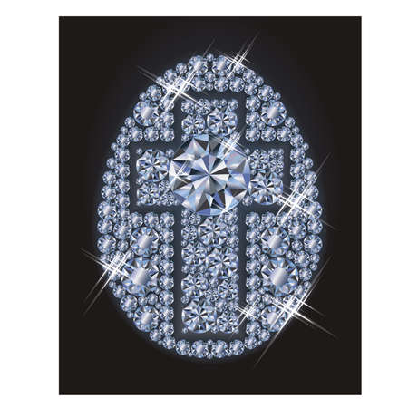 diamond jewellery: Diamond Easter egg with cross, Happy Easter card, vector illustration