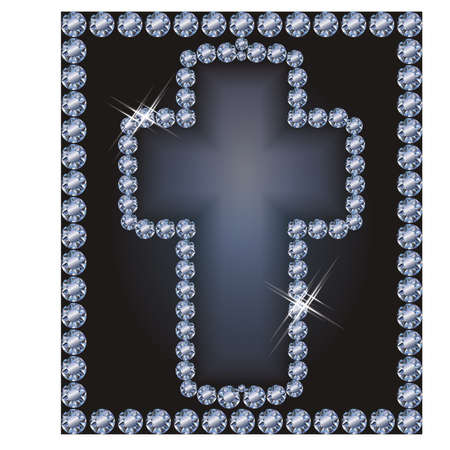glittery: Easter frame Diamond cross, vector illustration