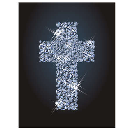 glittery: Diamond christian cross, greeting background, vector illustration