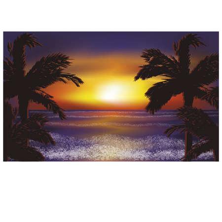night out: Evening sea wallpaper, vector illustration