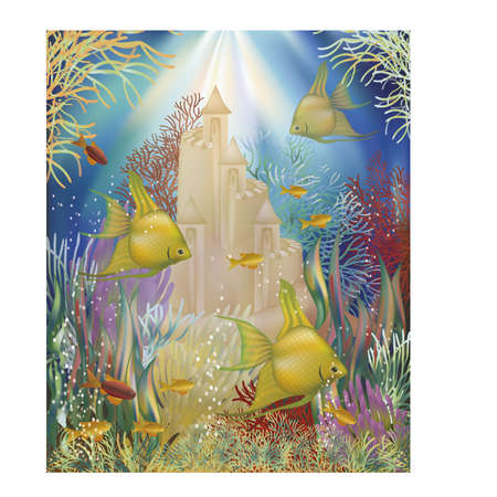 With wallpaper Underwater castle and tropical fish, vector illustration