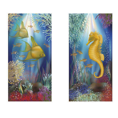 sub tropical: Underwater banners with tropical fish, vector illustration
