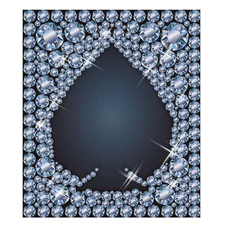 Diamond spades poker elements, vector illustration
