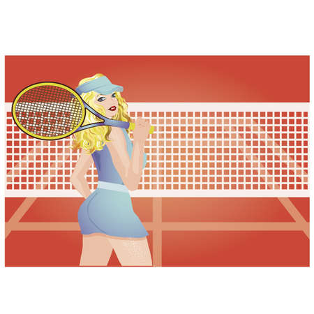 Beautiful tennis player on the tennis court, vector illustration