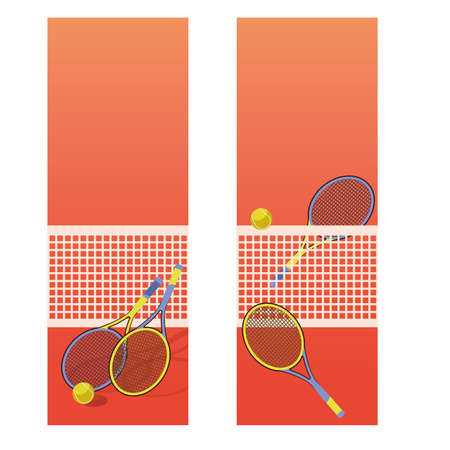 Tennis court vertical banners, vector illustration