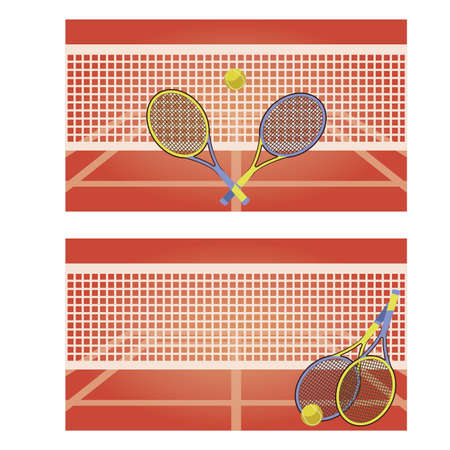 clothing shop: Tennis court horizontal banners, vector illustration Illustration