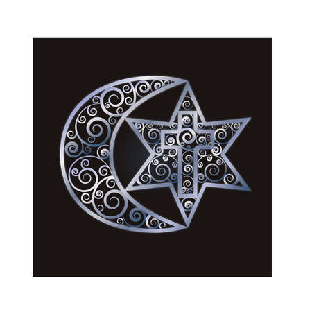 Symbols of the three world religions - Judaism, Christianity, Islam. Vector illustration