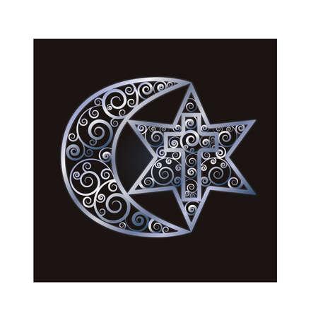 Symbols of the three world religions - Judaism, Christianity, Islam. Vector illustration