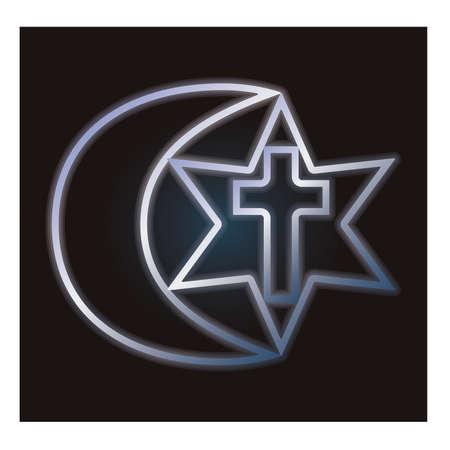 catholicism: Symbols of three religions, vector illustration Illustration
