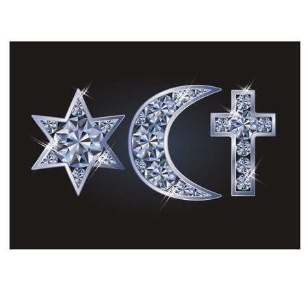 Religiöse Symbole jüdischen Davids Stern, islamischer Halbmond, christliches Kreuz. Vektor-Illustration