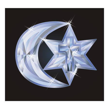 gemstone: Diamond symbols Judaism, Christianity, Islam, vector illustration Illustration