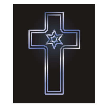 Christian cross and jewish Davids star symbols, vector illustration
