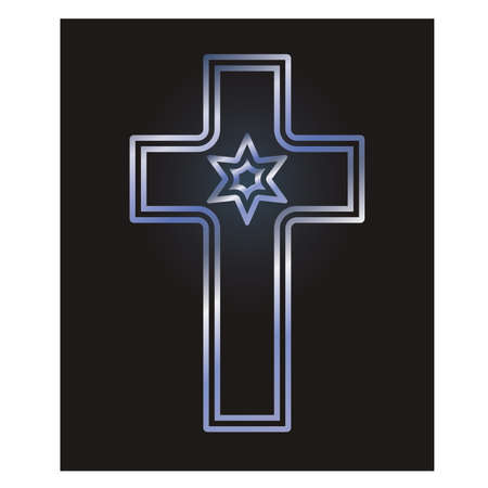 Christian cross and jewish Davids star symbols, vector illustration