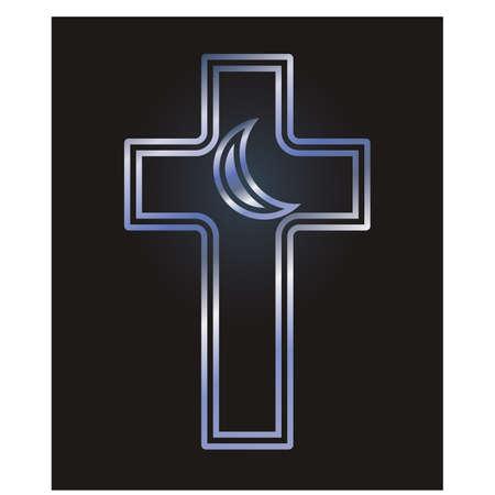 catholicism: Christian cross and Islamic crescent symbols, vector illustration