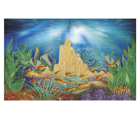 Underwater tropical wallpaper with sand castle, vector illustration