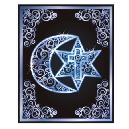 crosscountry: Symbols of the three religions - Judaism, Christianity, Islam. Vector illustration