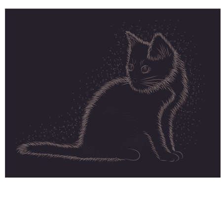 silueta de gato: Little kitten, black and white card, vector illustration