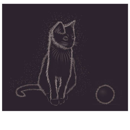 Little cat with ball, black and white, vector illustration Illustration