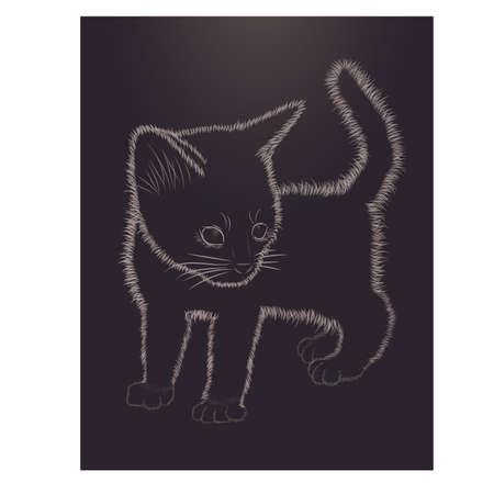 Little kitten black and white greeting card, vector illustration