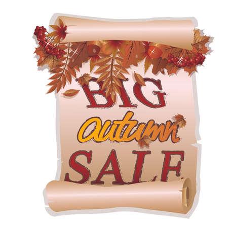 Big autumn sale card in vintage style, vector illustration Illustration