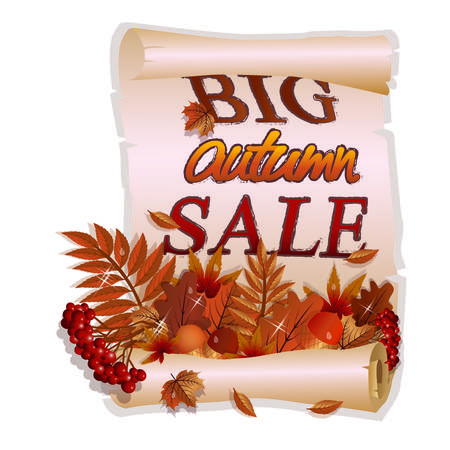 Big autumn leaves background, vector illustration