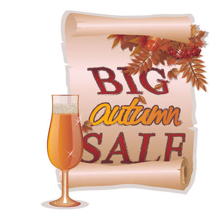 Big autumn sale card with wineglass, vector illustration