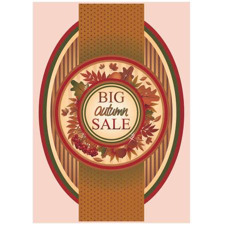 Big autumn sale banner, vector illustration