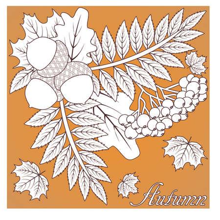 Autumn seasonal card, vector illustration