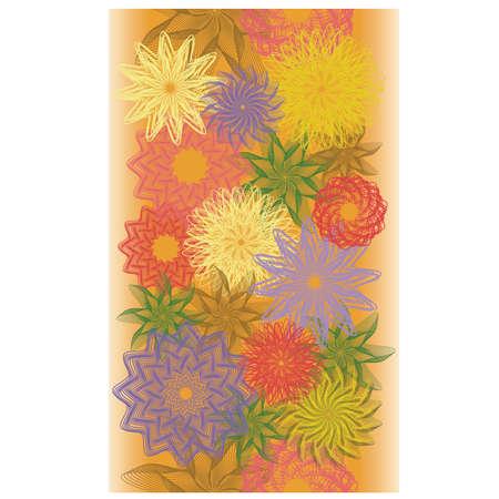 Autumn flowers seamless banner, vector illustration