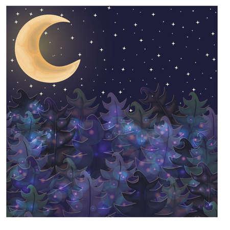 Halloween night forest wallpaper, vector illustration Illustration