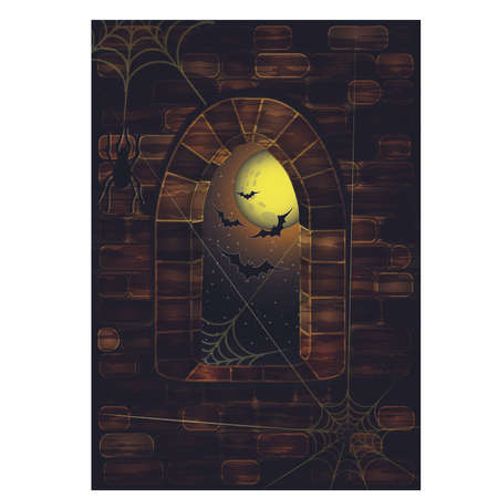 candle: Medieval window in castle with spiderweb. Happy halloween background, vector illustration