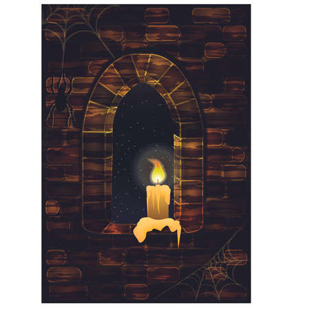 candle: Medieval window in castle with spiderweb and candle. Happy halloween background, vector illustration Illustration