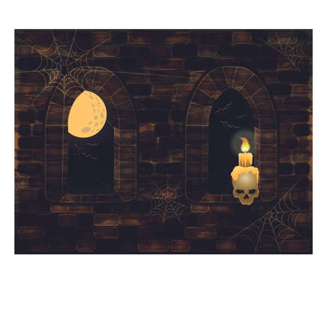 windows frame: Medieval windows in magic castle with skull and candle. Happy halloween card, vector illustration