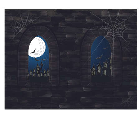 Medieval window in castle. Happy halloween card, vector illustration Illustration