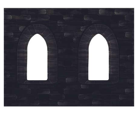 Medieval windows in castle, vector illustration