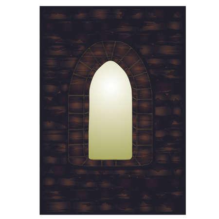Middeleeuws venster in kasteel, vectorillustratie