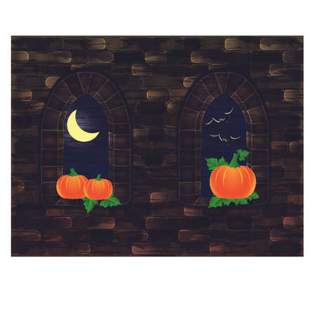 Middeleeuwse vensters met pompoen, Gelukkige Halloween-kaart, vectorillustratie