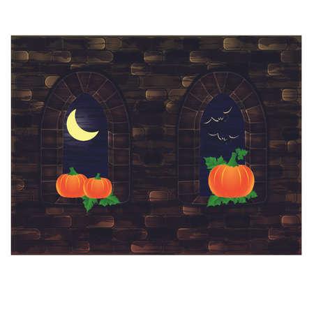 Medieval windows with pumpkin, Happy Halloween card, vector illustration
