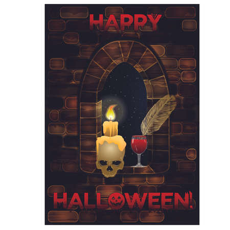 Medieval window in castle with skull. Happy halloween background, vector illustration Illustration