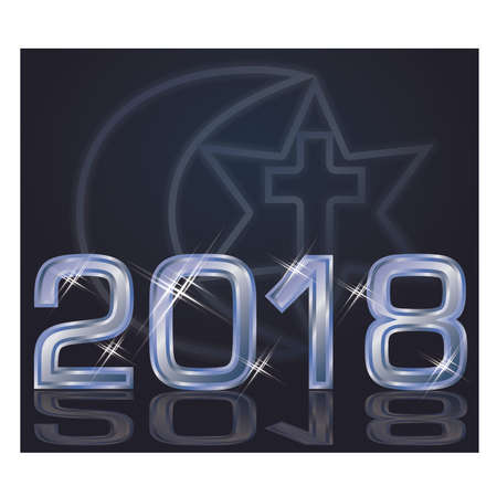 New 2018 year with symbols of three religions, wallpaper vector illustration Illustration