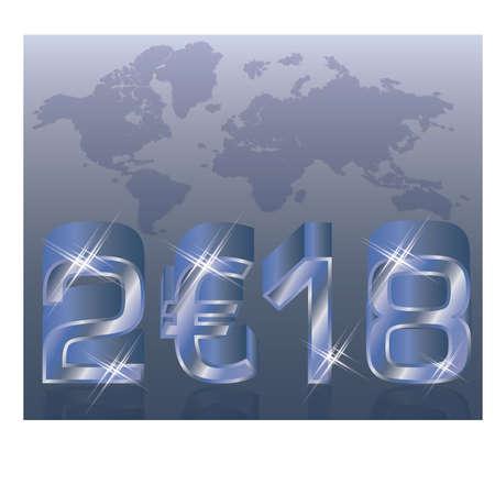 Nieuwjaar 2018 achtergrond, vectorillustratie Stockfoto - 87813064