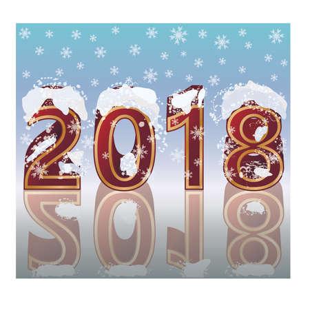 Gelukkig Nieuwjaar 2018 uitnodigingskaart, vectorillustratie