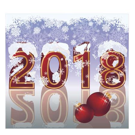 Gelukkig Nieuwjaar wenskaart, vectorillustratie Stock Illustratie
