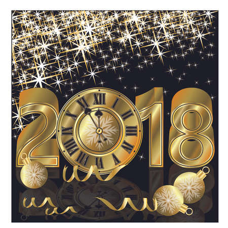 Happy New Year 2018 golden wallpaper, vector illustration