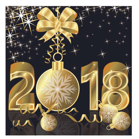 scrap gold: Happy New Year 2018 golden background, vector illustration